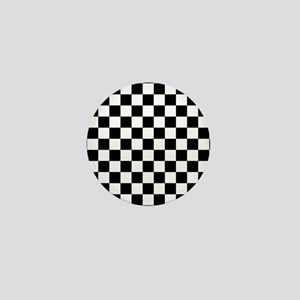 BLACK AND WHITE Checkered Pattern Mini Button